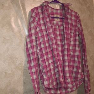 Hollister Tops - Pink and white plaid shirt